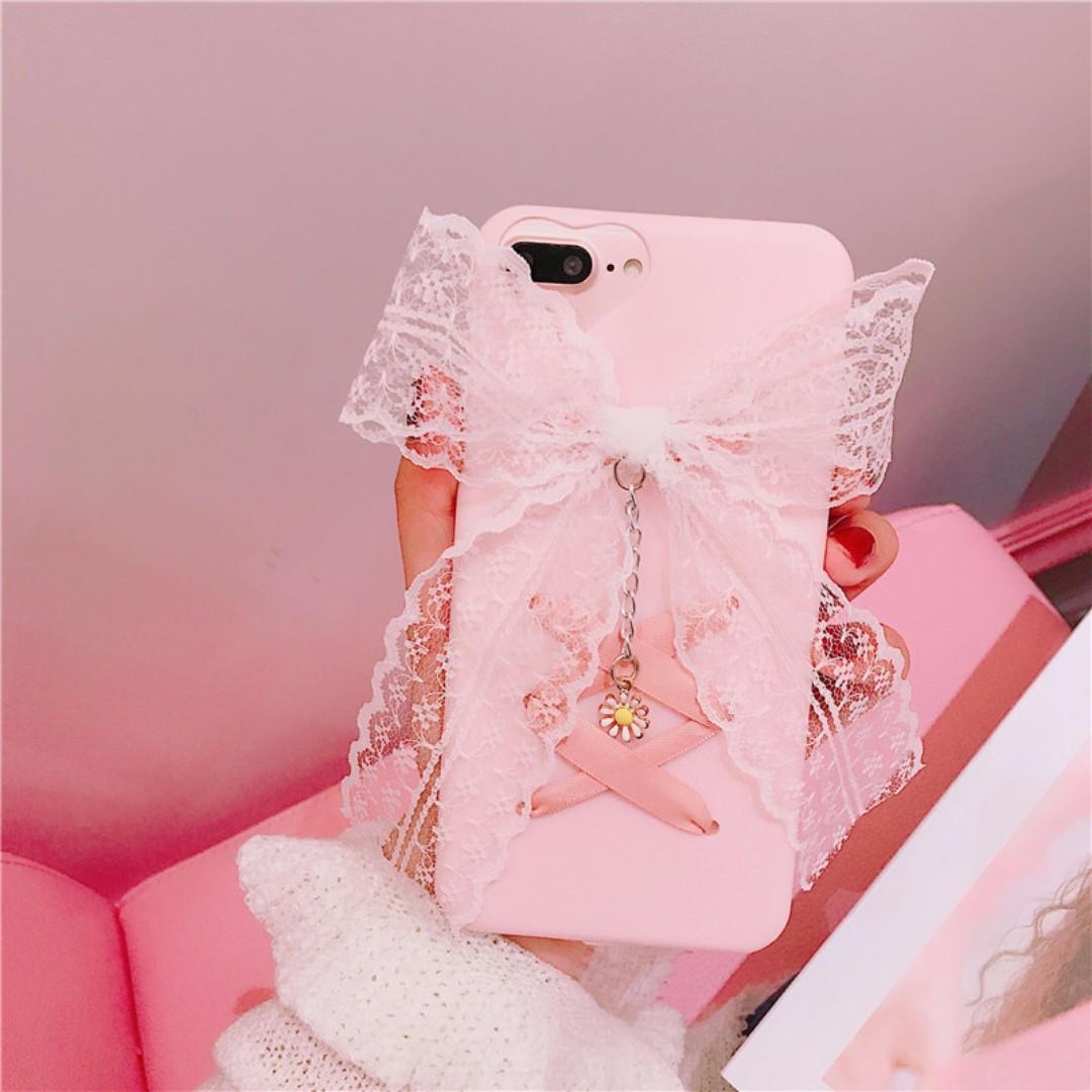 蕾絲蝴蝶結蘋果手機殼