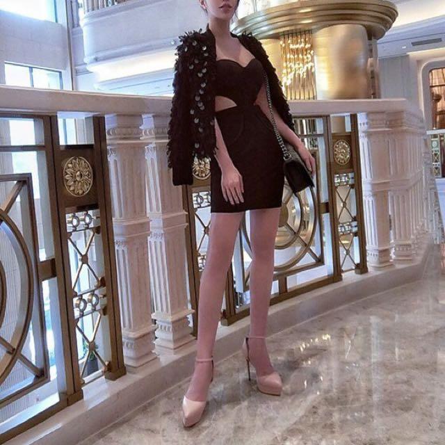轉賣歐美時尚百搭踝繫帶尖頭厚底高跟鞋 粉