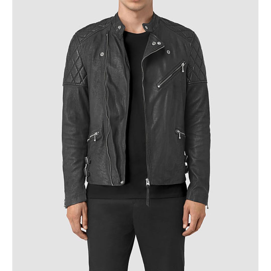 【現貨】英國AllSaints Den Leather Biker Jacket 龜甲 騎士 皮衣 黑色 S號