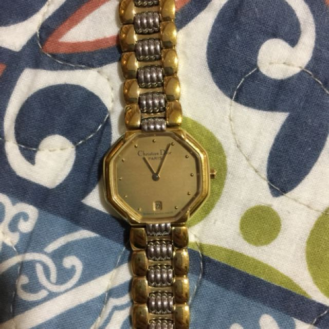 Authentic Christian Dior watch two toned