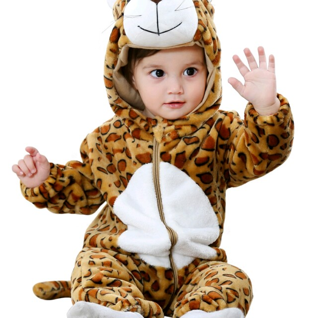 4dc71ed4b Baby s Jumpsuit Cute Leopard Sculpt Long Sleeve Comfy Warm Flannel ...