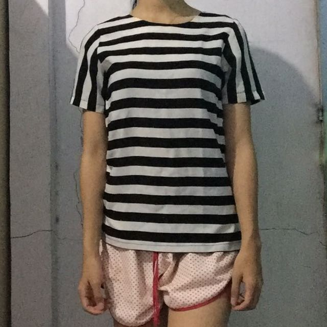Black and white stripe blouse / top