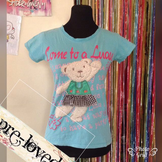 Blue shirt w/ teddy bear print
