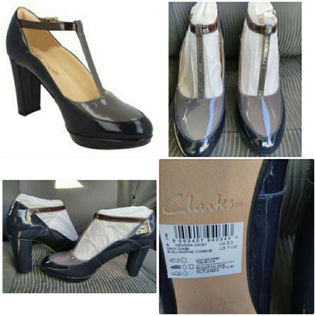 93b1b7267 Brand New Ladies Clarks T-bar Block Heel Smart Court Shoes Kendra ...