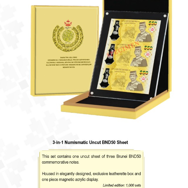 [Limited Edition] Brunei 50th Golden Jubilee 3-1 $50 uncut