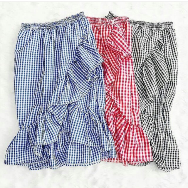 Gingham Cotton ruffled skirts