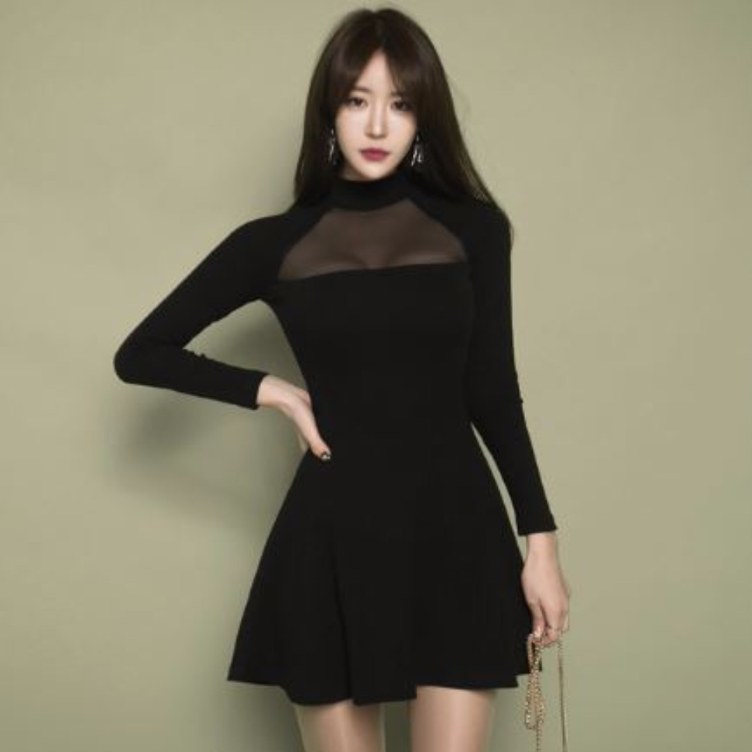 ef6c2bc0da6 D015 - Korean sexy black Mesh long sleeve dress, Women's Fashion, Clothes,  Dresses & Skirts on Carousell