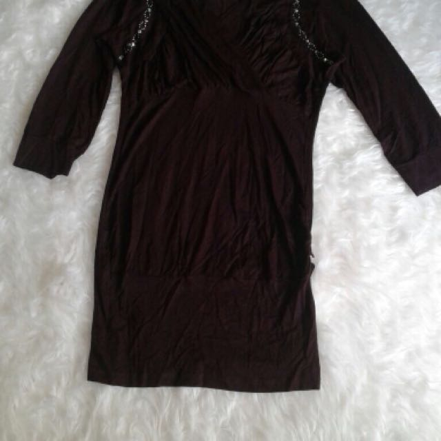 DRESS Kode 516207 atasan panjang coklat, uk : Ld/p : 43/76
