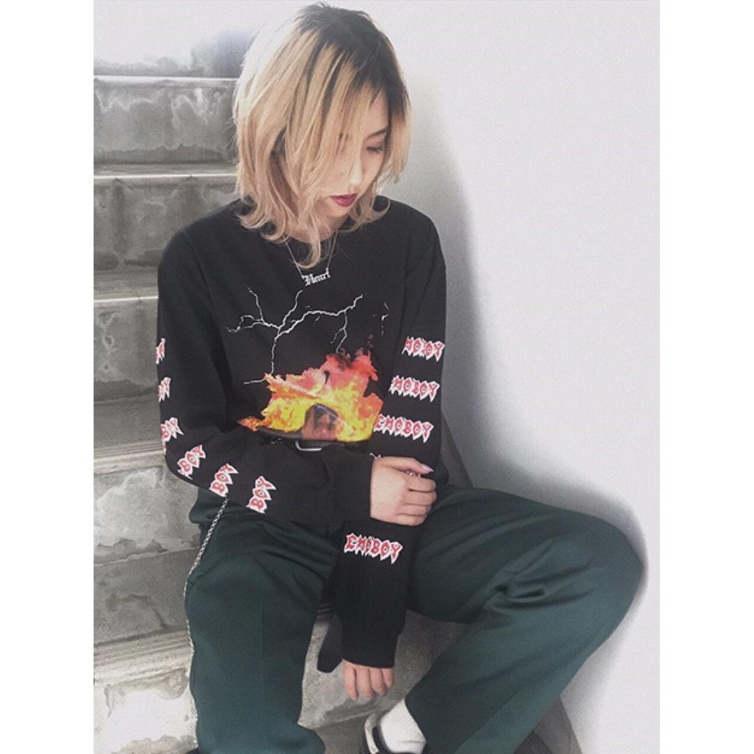 faith衛衣 紫/黑