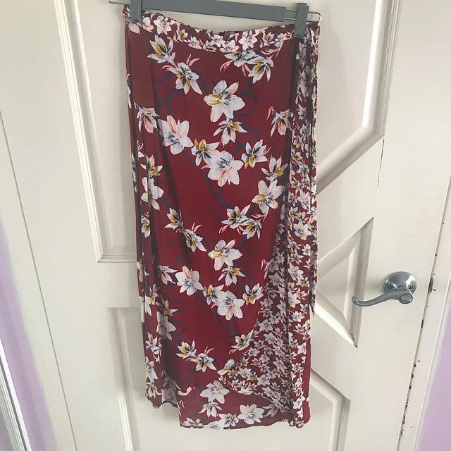 Floral Maroon Wrap Skirt NWOT