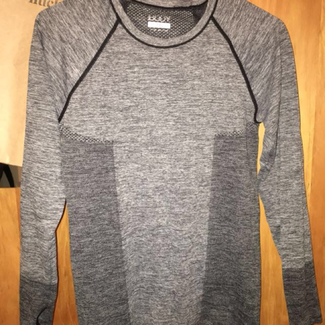 Grey Long Sleeve Sports Top