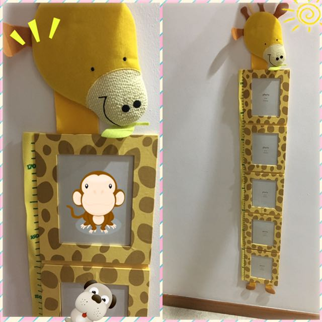 Height Growth Chart Fabric Photo Frame Babies Kids Toys