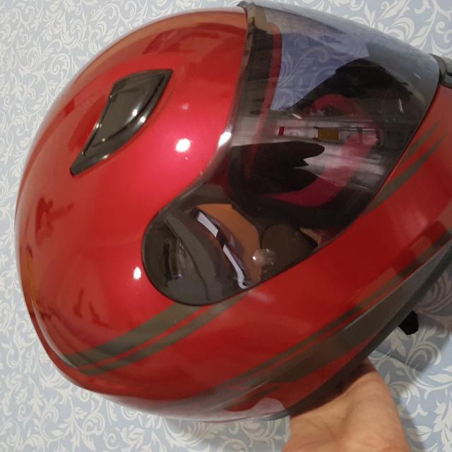 helm merah no brand but good quality