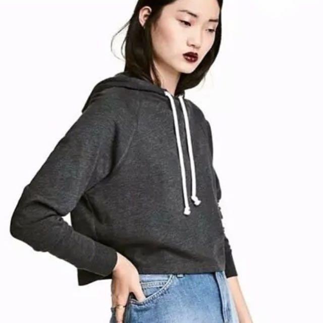 H&M Crop Hooded Dark Grey