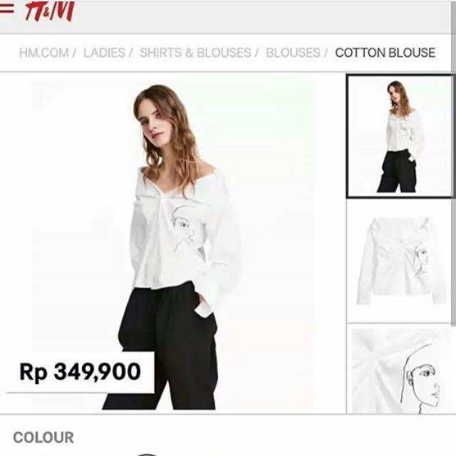 H&M Sabrina Shirt White Face