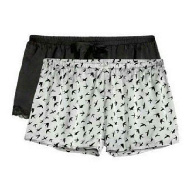 H&M Short Pajamas (White Bird / Black Lace)