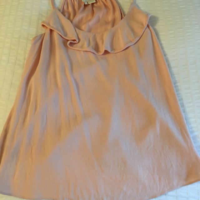 Kate Spade viscose ruffle front tank top in peachy blush color size large