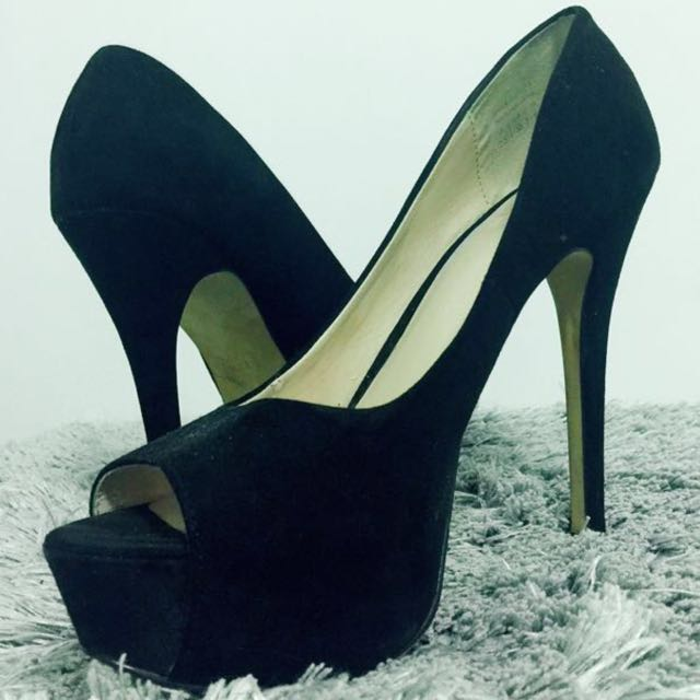 Lady Bravo Black Open Toe Heels