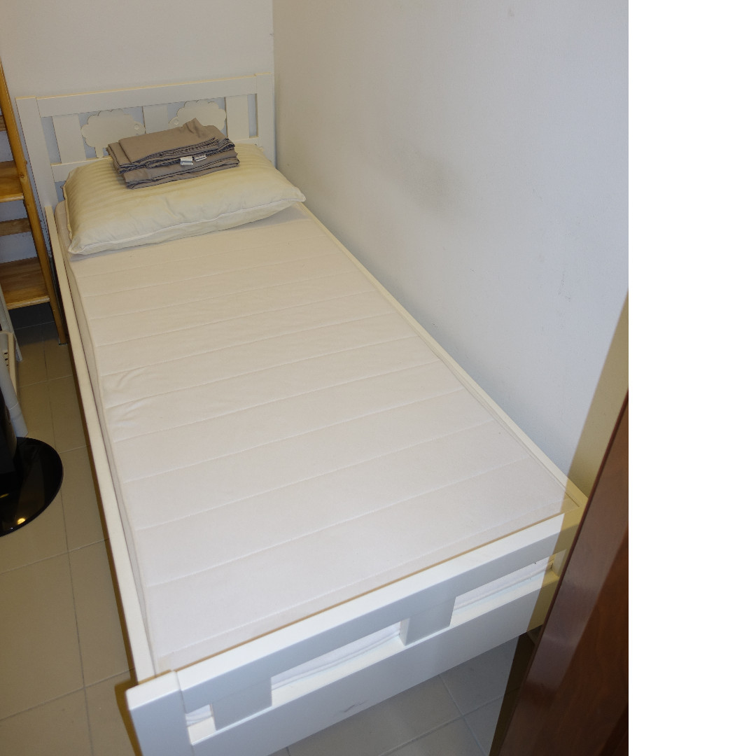Last 2 Days Maid S Room Package Ikea Kritter Bed W Mattress 1 Sheet Set 1 Pillow 2 Ikea Underbed Storage Boxes Furniture Beds Mattresses On Carousell