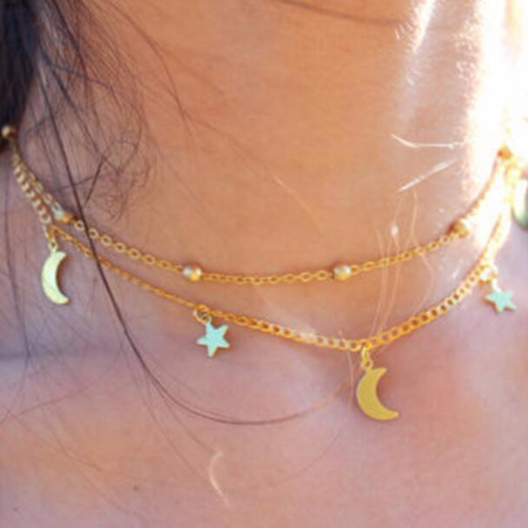Moon and Star Layered Metal Plated Necklace