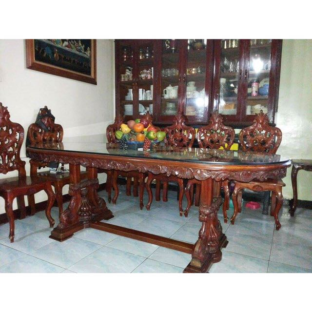 NARRA Dining Set w/ 8 Chairs, Home & Furniture on Carousell