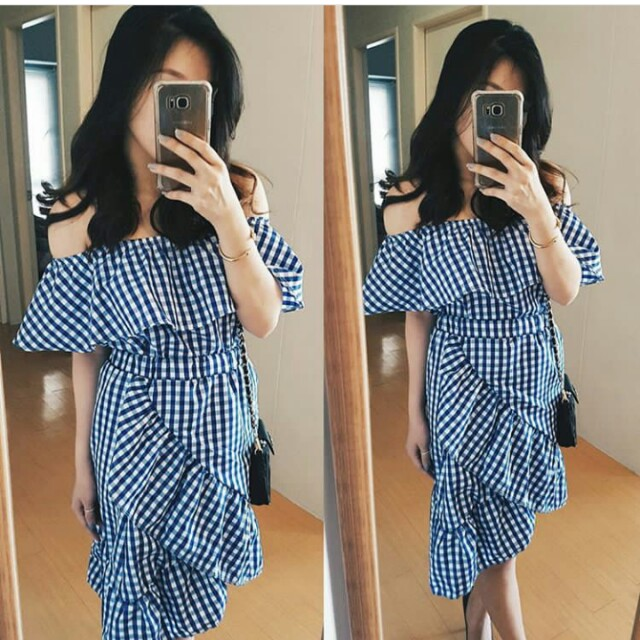 Gingham Off shoulder crop top and ruffled skirt terno