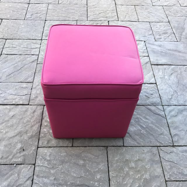 Pink leather stool