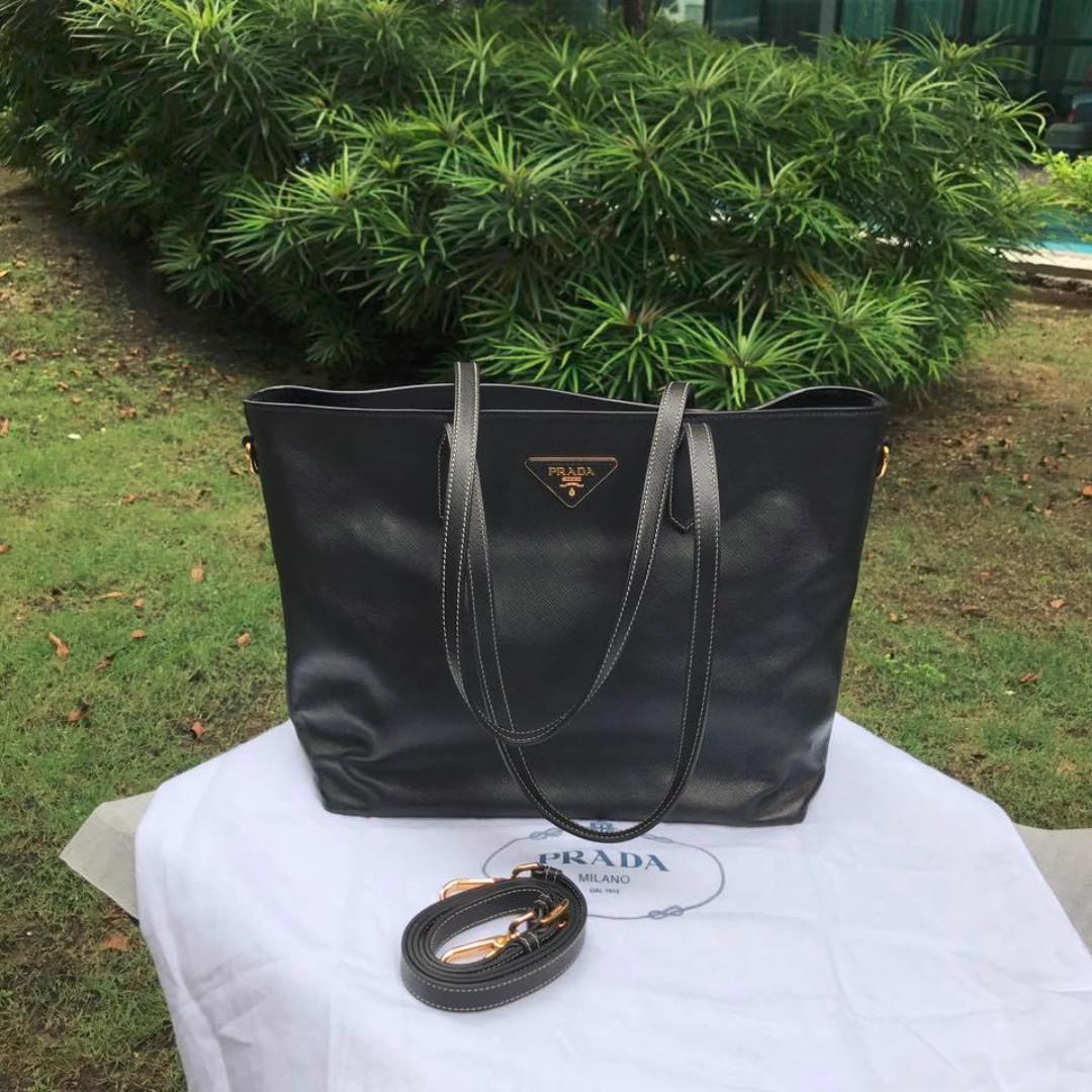Prada BR5014 Black Saffiano Soft 2-Way Tote Bag 447162ca27e24