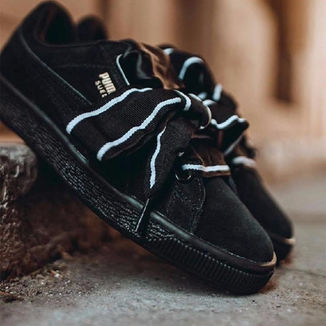 separation shoes 32fa6 1f0da Puma Suede Heart Satin II Black