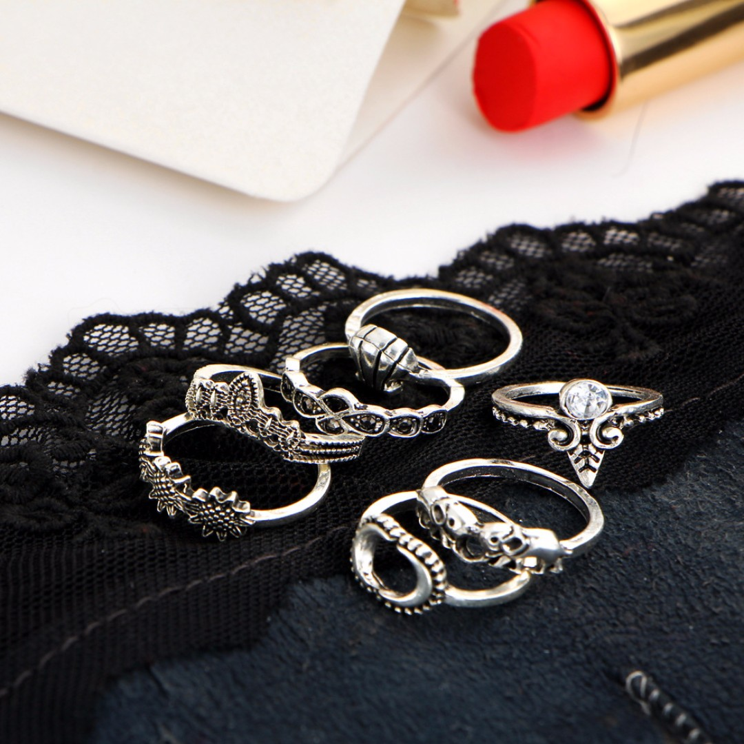 Random Style Metal Plated Ring Set