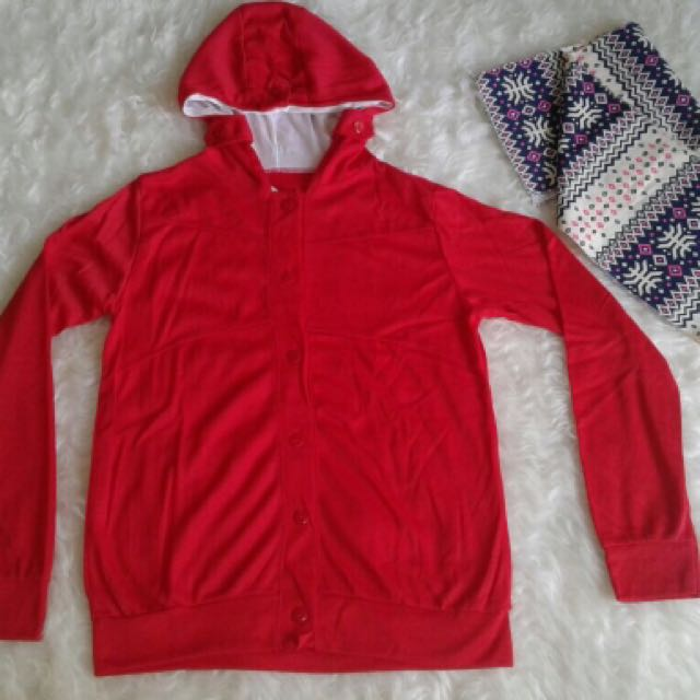 RED HOODIE PLUS SYAL Kode 516119 Jaket merah+selendang, uk : Ld/p : 45/58