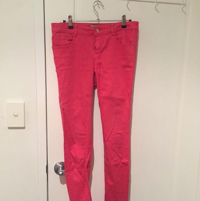 Red Zara Jeans Size EUR 36