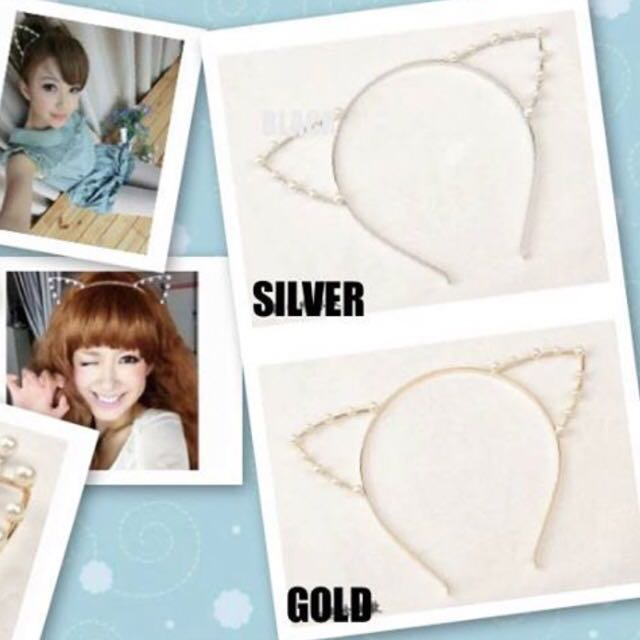 SALE Pearl Ear Cat Hairband (Silver & Gold)