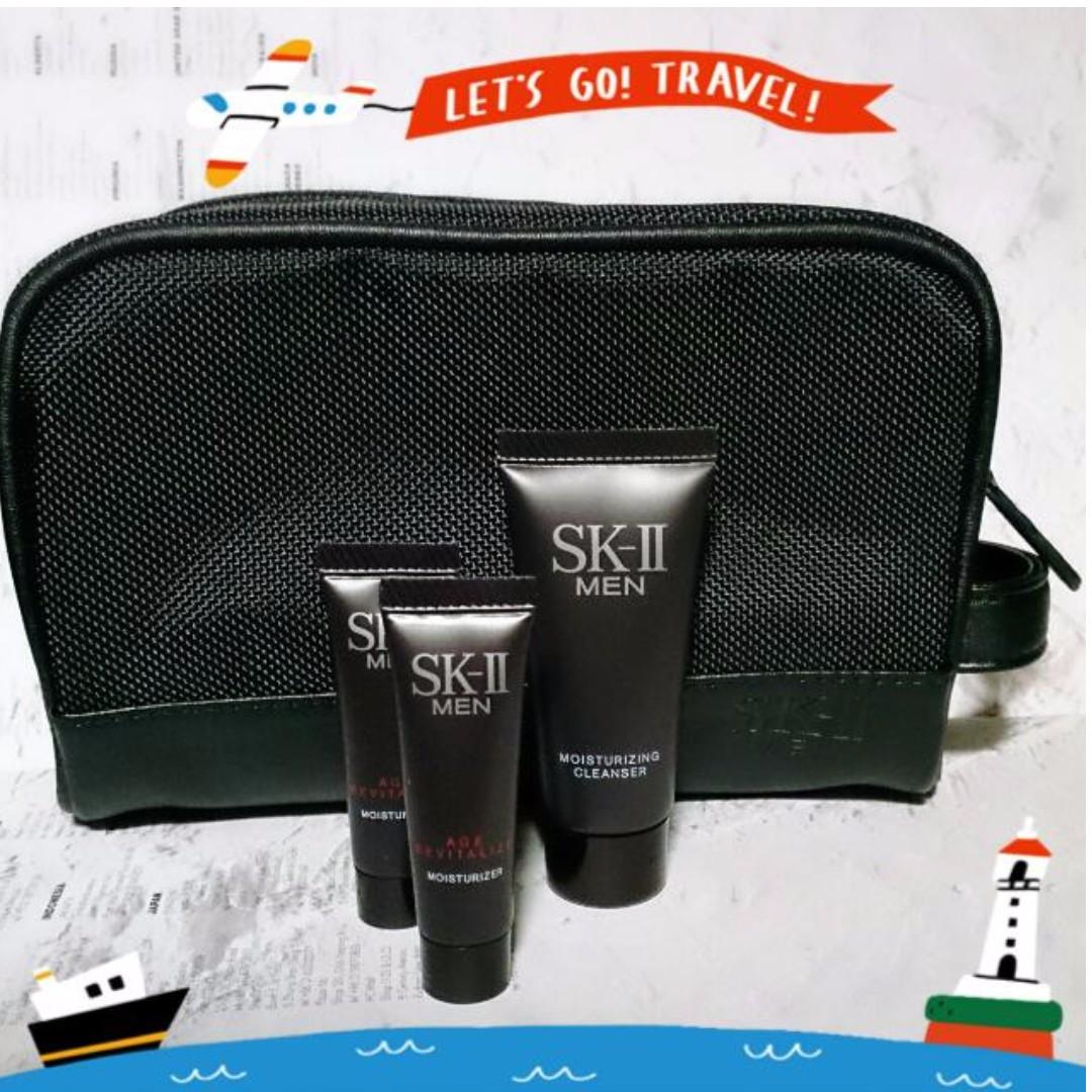 SK-II MEN 旅行組 (盥洗包+修護霜+潔面乳) #含運最划算