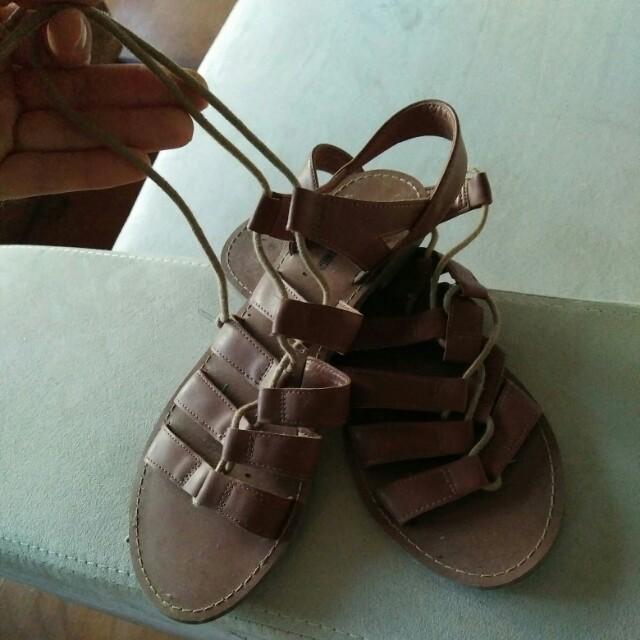 Tan lace up sandles size 8