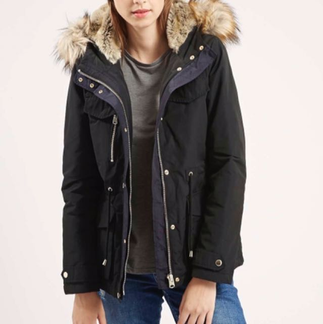 Topshop black padded parka with faux fur