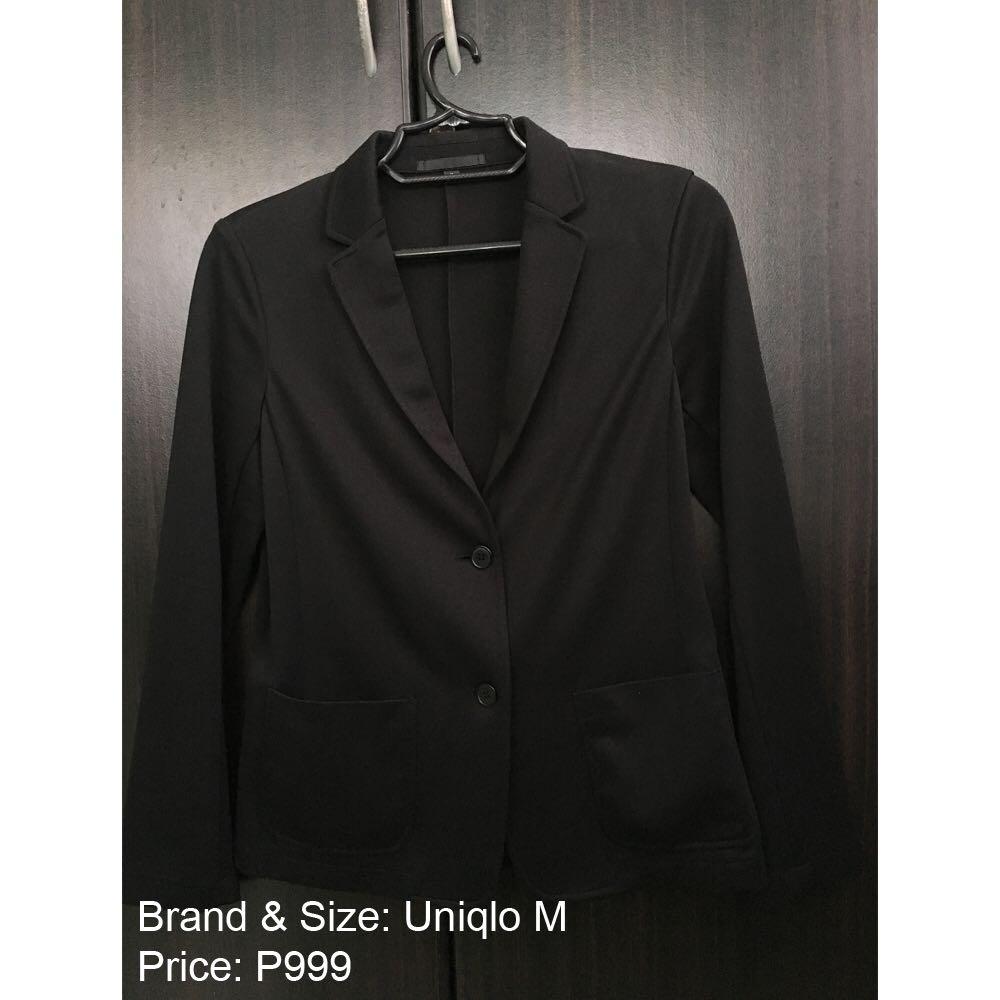 UNIQLO Formal Black Coat Blazer Long sleeves Office Outerwear