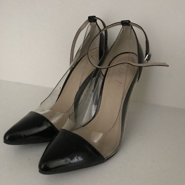 Verali Heels Transparent Point Peep toe Black