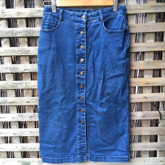 Vintage button down midi skirt