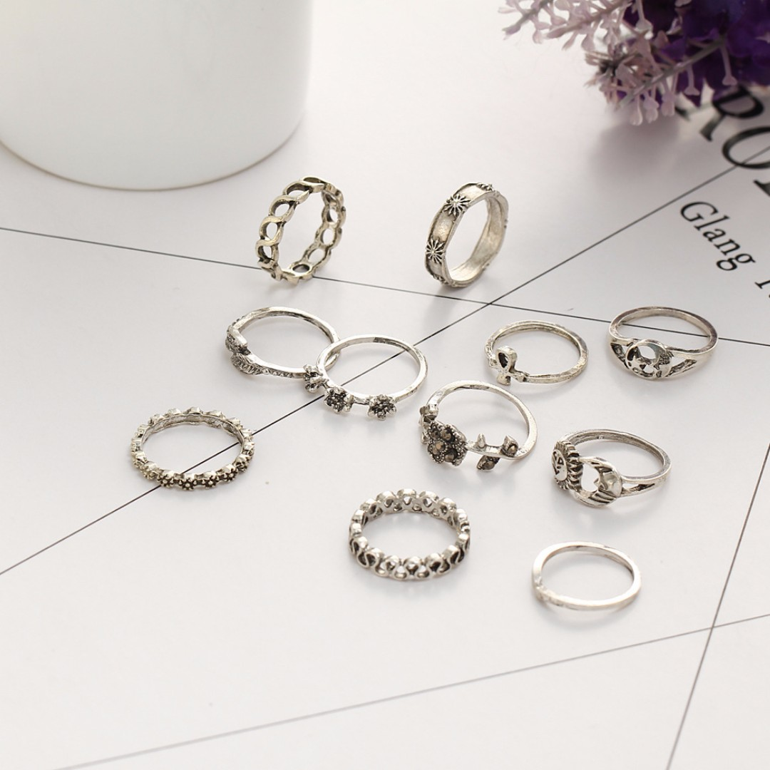 Vintage Style and Flower Metal Plated Ring Set