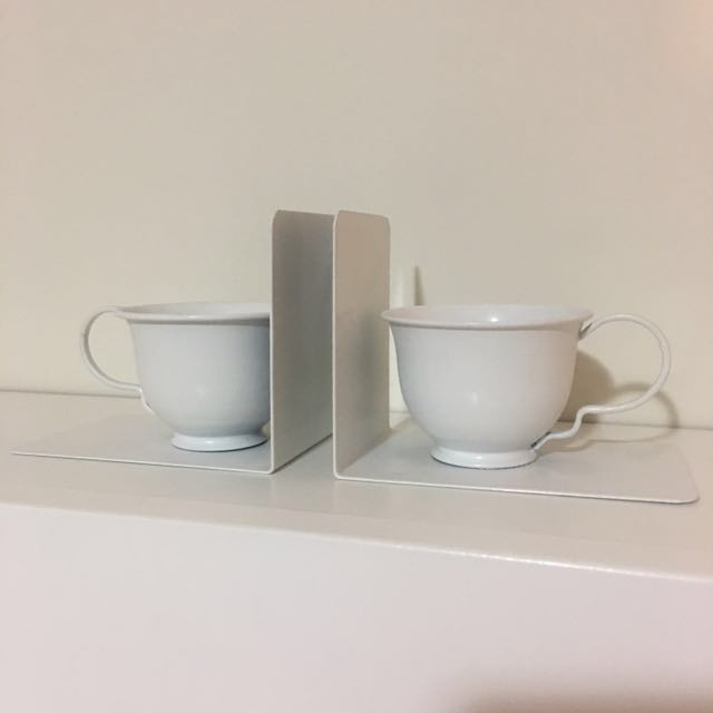 White Tea Cup Bookends - Typo