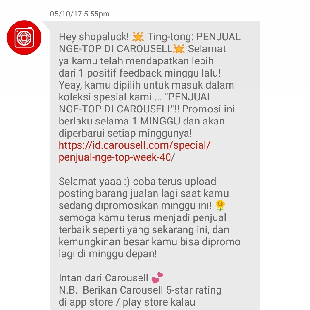 yeayy!! Penjual Nge-TOP thanks Carousell
