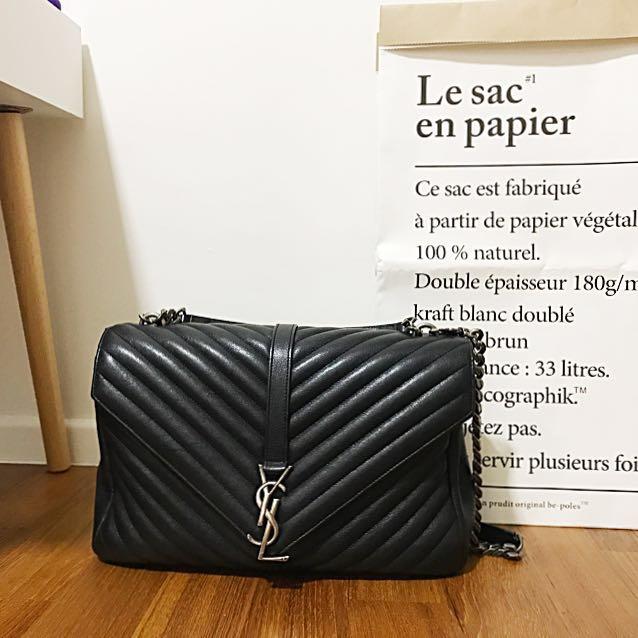Ysl Saint Laurent Large College Monogram Bag Gunmetal