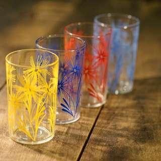 懷舊 美國 40s 玻璃杯 印花 Juice Glass Vintage