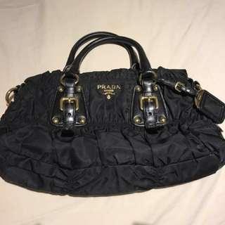 Prada Black Tessuto Gaufre Nylon Ruched Bag
