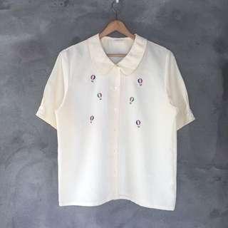 日貨米黃熱氣球短袖圓領襯衫❤️任選兩件減100✨古著復古vintage森林系