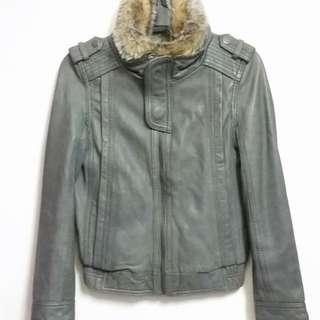 🈹🎉SALE🎉SALAD灰色拉鏈毛領皮褸 SALAD Gray Zip-Up Leather Jacket With Fun Fur Collar Trimming