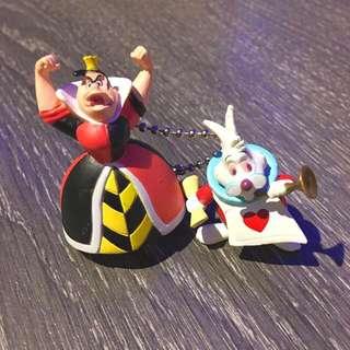 迪士尼 愛麗絲紅心皇后跟時間兔絕版吊飾
