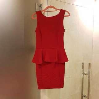 Gorgeous Red Peplum Shift Dress