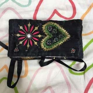Vintage 復古珠串 刺繡 手拿包 收納包 零錢包
